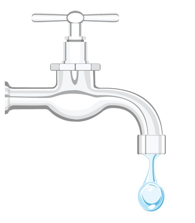 leaking: a water tap with realistic flowing water, on a white background
