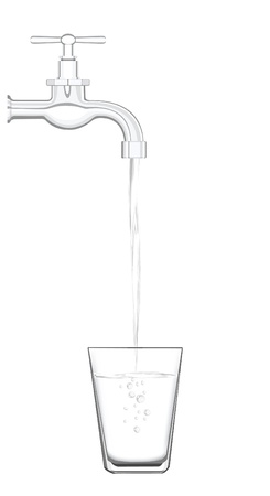 filling: a water tap with realistic flowing water, filling up a glass on a white background