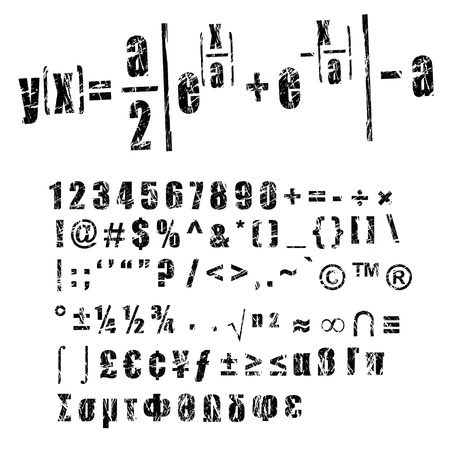 copyrights: grunge style numbers and symbols for mathematics formula