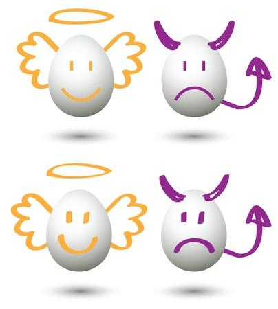 angel and devil cartoon, for conceptual symbol. Vector