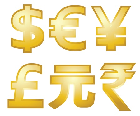 all major currency symbols in gold. Dollars, Euro, Pounds, yen, yuan, and rupee.