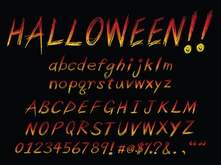 burning alphabet: grunge style alphabet, for design usage. Illustration