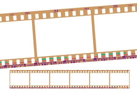 negatives: film strip, with realistic negative color. Continuous frames, accurate dimension and details.