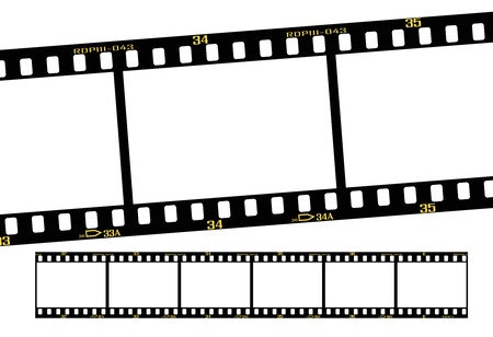 film strip: slide film or transparency strips, accurate dimension and details.  Illustration