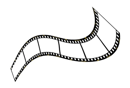 filmstrip: warped film strip with wavy style, with film frame number and details  Illustration
