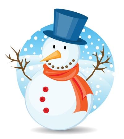 bonhomme de neige: illustrations de Bonhomme de neige pour la carte de v?ux de Noël.