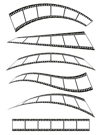 film strip: warped film strip with wavy style, with film frame number and details  Illustration