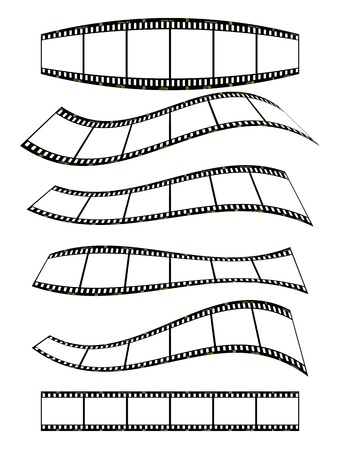 warped film strip with wavy style, with film frame number and details  Stock Vector - 10598942