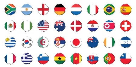 countries badges in sticker form, 32 countries.