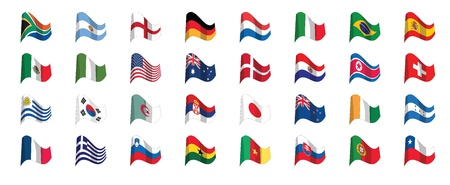 south africa flag: 32 countries flag icons participating in world soccer championships 2010, vector.  Illustration