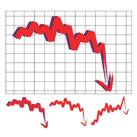 decline: stocks index downward arrow vector, indicate decline and sharp turn. Please check my profile for upward arrow.