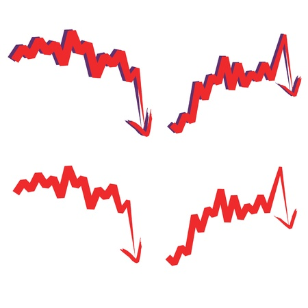 indicate: stocks index downward arrow, indicate decline and sharp turn. Isolated on white. Please check my profile for upward arrow. Illustration