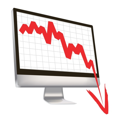 illustration of economic crisis, with red arrow break outs of computer monitor. Vector