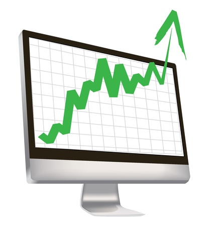 trends: economic boom, with green arrow breaks out of computer monitor. Illustration