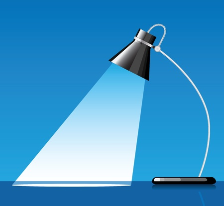 product display: desk lamp with a blue background, with a empty space under spotlight. Illustration