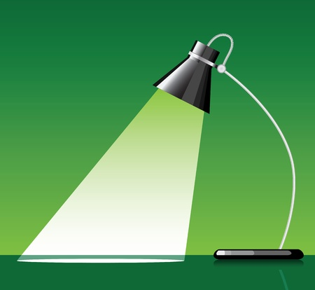 desk lamp: desk lamp with a green background, with a empty space under spotlight.