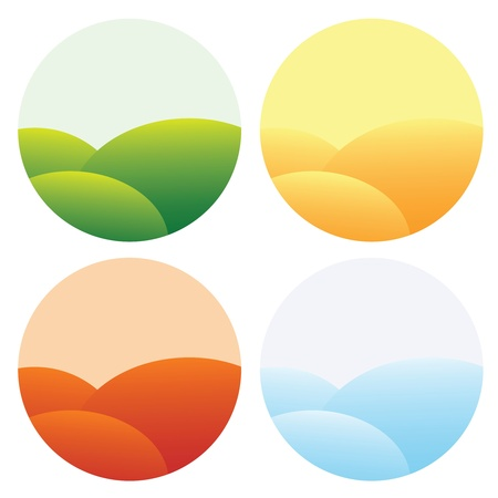 four seasons indications, spring, summer, autumn and winter. Stock Vector - 10599120