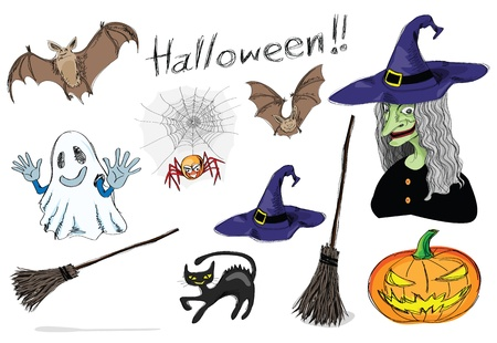 broomstick: halloween design elements, pencil sketch style. Illustration