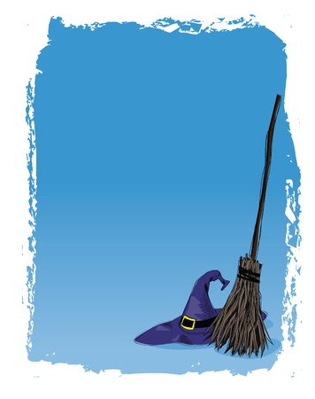 broomstick: halloween background with grunge frame