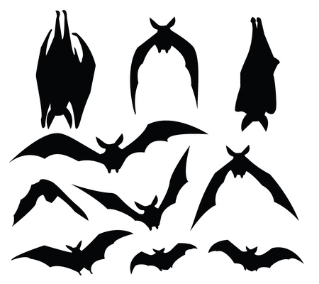 at bat: bat silhouette of various movement, for design usage.