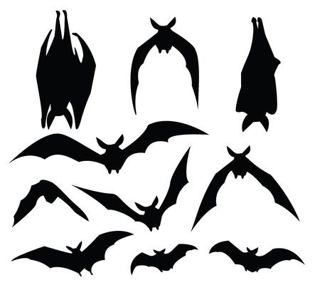 murcielago: silueta de murciélago de diversos movimientos, para uso del diseño. Vectores