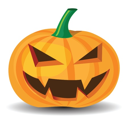 calabaza caricatura: Calabaza de Halloween con mal sonriente formato vectorial.