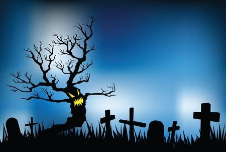 halloween night illustrations, vector format, evil tree in cemetery. Vector