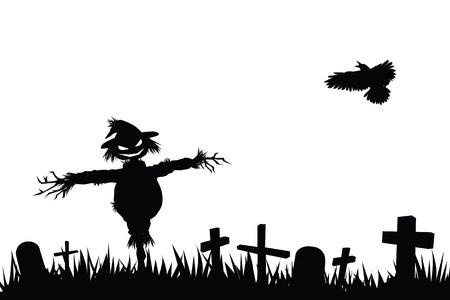 Halloween silueta tema, espantapájaros en el cementerio