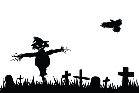 graveyard: halloween theme silhouette, scarecrow in graveyard
