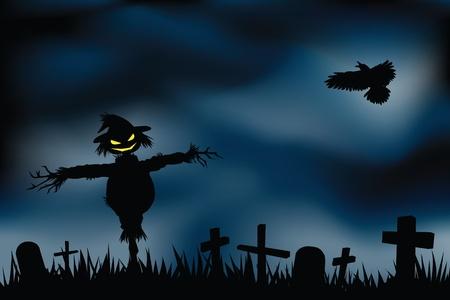 halloween background with evil scarecrow in graveyard. Vector