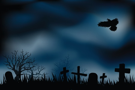 graveyard background, with ghosts shadow flying around Illustration