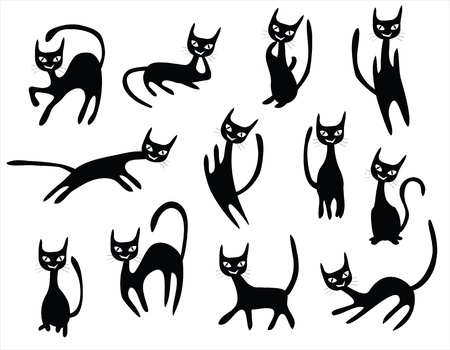 meow: cat cartoons set, black cats with different postures.