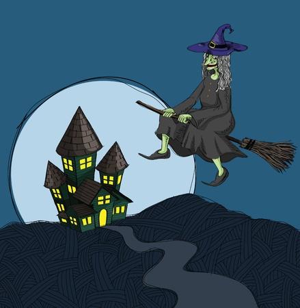 broomstick: haunted house illustration, in grunge sketch style. Illustration