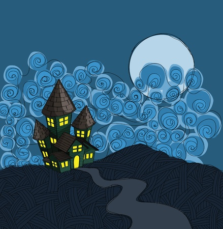 fantasy castle: haunted house illustration, in grunge sketch style. Illustration