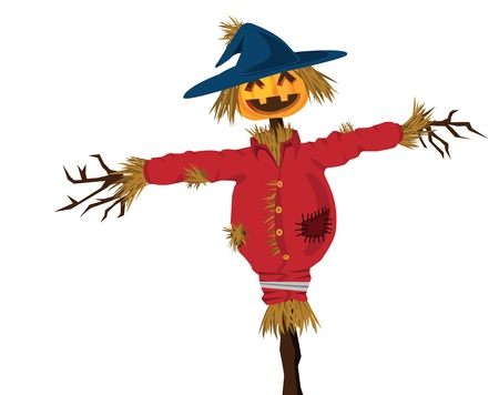 haunting: halloween scarecrow illustration, with evil grin.
