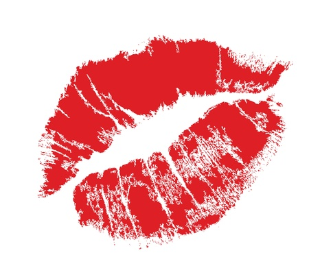 seduce: realistic lip mark in jpg and vector form, carefully transferred. isolated on white background.