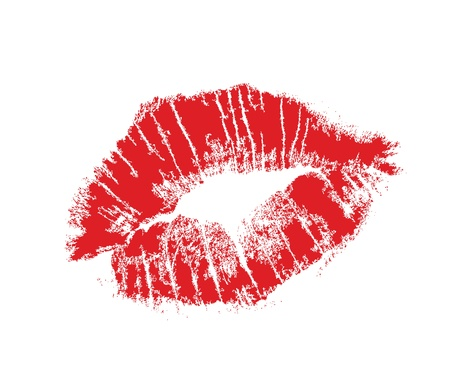 lip kiss: realistic lip mark in jpg and vector form, carefully transfered. isolated on white background. Illustration