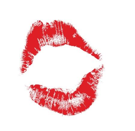 seducing: marchio labbro realistico in jpg e forma vettoriale, accuratamente trasferiti. isolato su sfondo bianco. Vettoriali