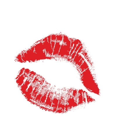 kiss lips: realistic lip mark in jpg and vector form, carefully transfered. isolated on white background. Illustration