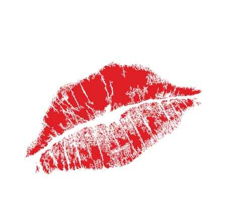 lipstick kiss: realistic lip mark in jpg and vector form, carefully transfered. isolated on white background. Illustration