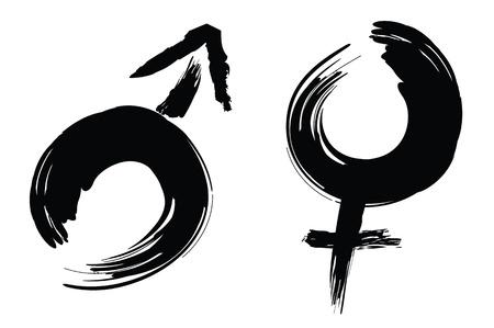 상징: 남성과 여성의 기호 서예 브러시 스트로크 디자인.