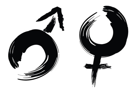 human gender: calligraphy brush stroke design of male and female sign.
