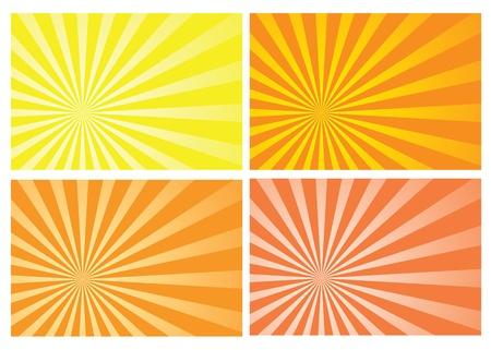 conserve: jaune et orange �clat� rayons de fond, eps10 format, de pr�server la transparence et masque d'opacit� pour le changement de couleur facile, la position de la salve et effets de fondu. Illustration