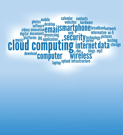 word clouds: cloud computing concepts background, with copy space.