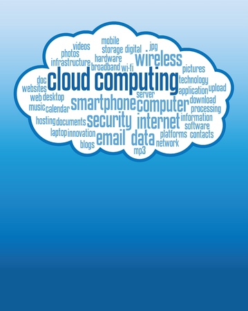 cloud computer: cloud computing concepts background, illustrations with copy space. Illustration