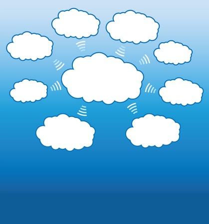 cloud computing concepts background, data management diagram Vector