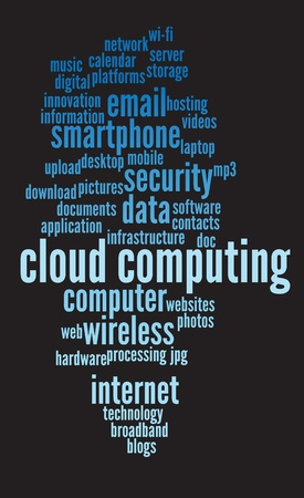 word clouds: cloud computing conceptual backgrounds, with keywords and concepts.