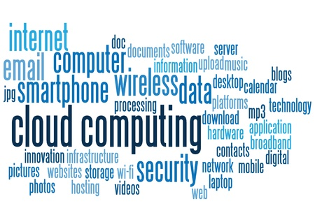 word cloud: cloud computing conceptual backgrounds, with keywords and concepts.