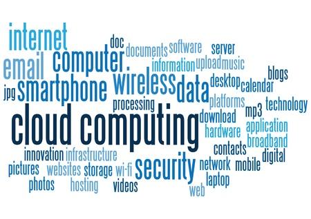 cloud computing conceptuele achtergronden, met trefwoorden en concepten. Vector Illustratie