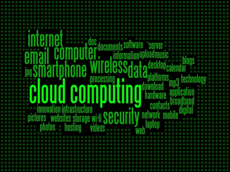 cloud computing conceptual backgrounds in vintage computer screen, with keywords and concepts. Stock Vector - 10649378
